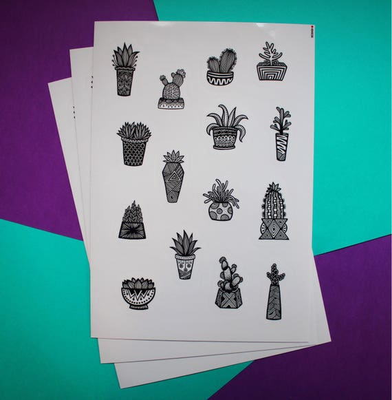 B&W Succulent Sticker Sheet (WATERPROOF)