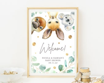 Australian Welcome Party Sign Printable Sign Koala Birthday Welcome Sign Koala Birthday Decor 3686 1st Birthday Decor