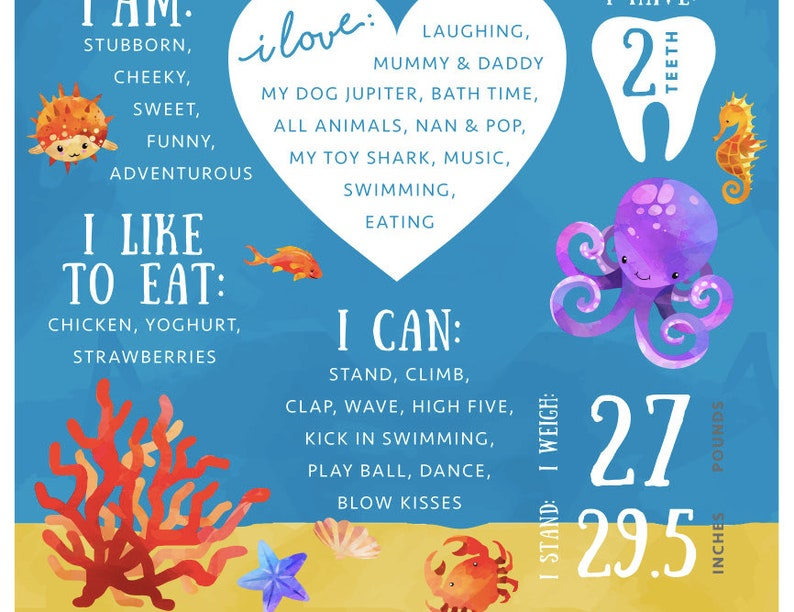 Printable Submarine Sea Animals Themed 1st First Birthday UTS2 Under The Sea Milestone Board Ocean Party Decoration DIGITAL DOWNLOAD