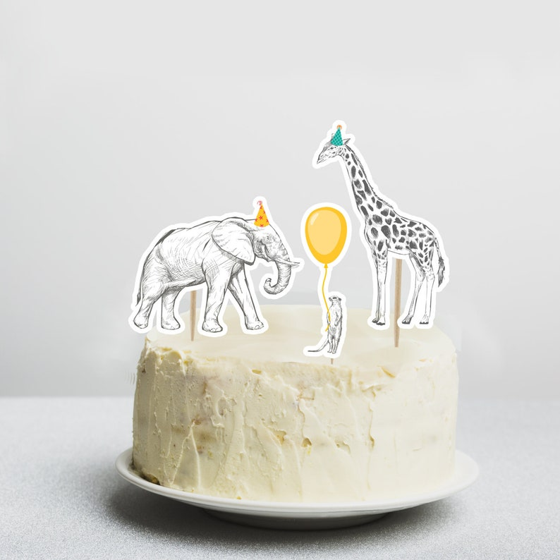 photograph about Printable Cake Toppers named Safari Cake Toppers, Fast Electronic Obtain, Printable Celebration Pets Concept Decor, Jungle Zoo Pets, Get together Hats Cupcake Reduce Outs, PA1