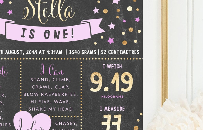 PRINTABLE Twinkle Chalkboard Birthday Chart Milestone Poster Girl/'s Pink Gold 1st Starry Party Theme Decor Little Star Milestone Board