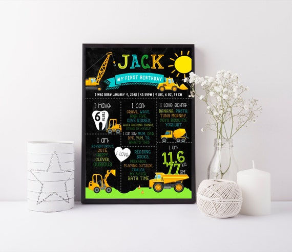 Construction Milestone Board Printable Boys 1st First Etsy