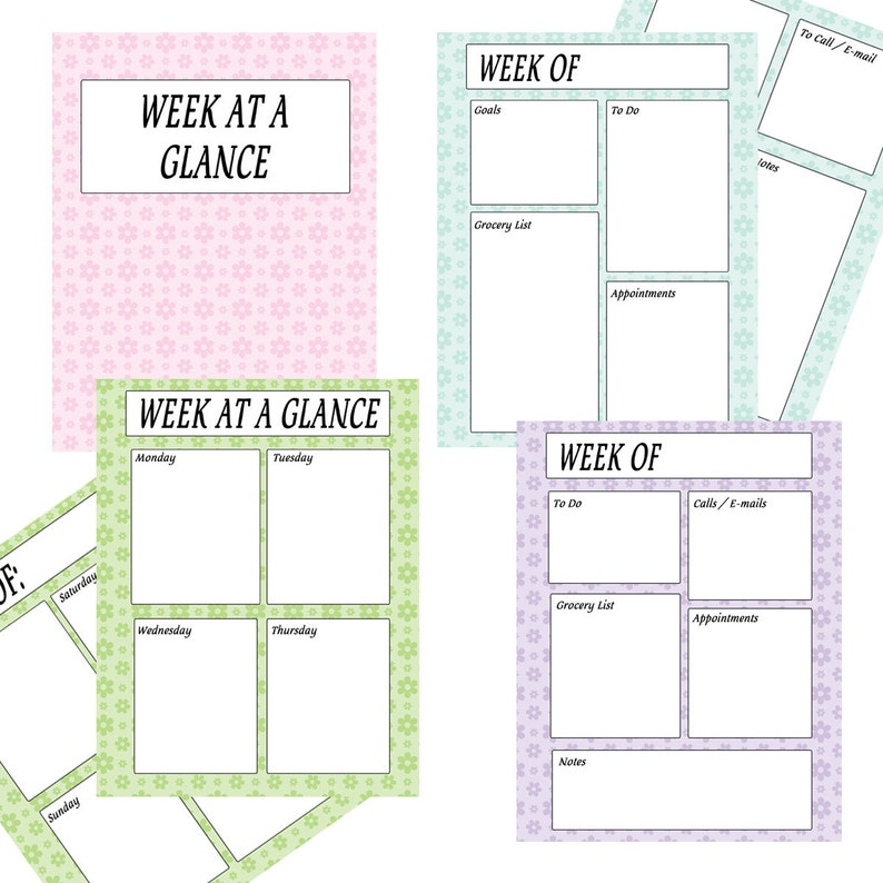 graphic relating to Weekly Planning Sheets titled Printable Weekly Planner Sheets - 7 days at a Look Sheets - Quick Down load PDF -- Pastel Colours Bouquets - Fantastic for Residence Binders!