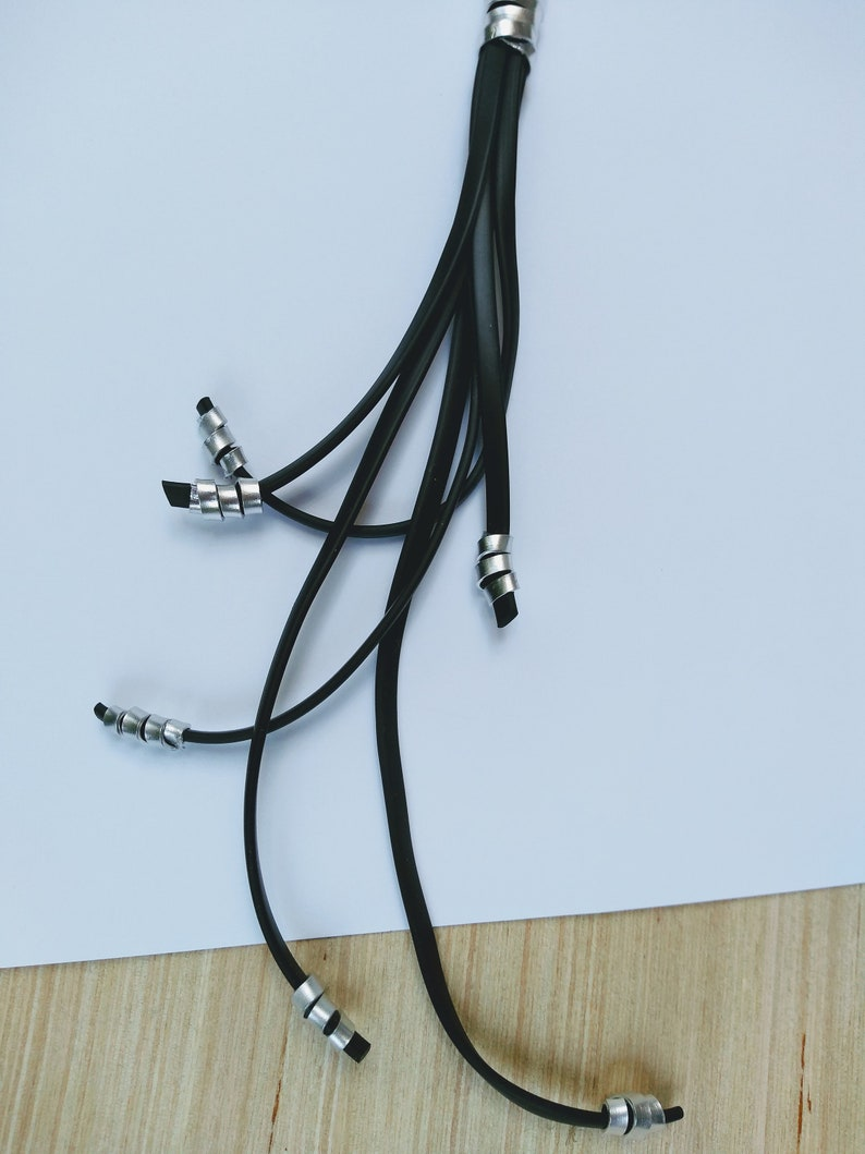 Long black silver rubber necklace Contemporary necklace Long modern necklace Multi-strand avant-garde necklace Statement necklace