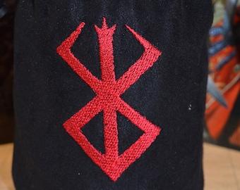 Dice Bag Berserk Gutts Brand Embroidered Suede