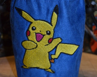 Dice Bag Pokemon Pikachu 01 Embroidered suede