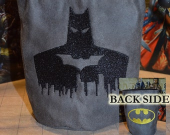 Dice Bag Batman double side Embroidered Suede
