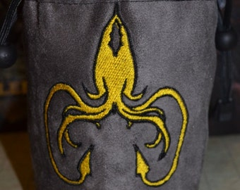 Dice Bag game of thrones Greyjoy Embroidery Gray Suede
