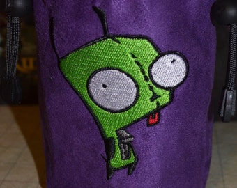 Dice Bag Invader Zim GIR Embroidery  on Purple Suede