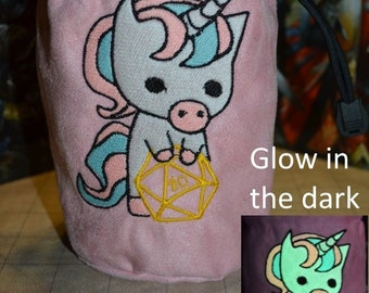 Dice Bag D20 Unicorn Glow in the dark Embroidered suede