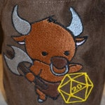 Dice Bag D20 Minotaur Embroidered suede