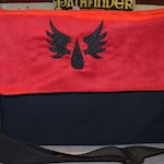 Messenger bag Warhammer Blood Angels embroidered Canvas and suede top