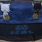 Messenger bag D20 Dice Givith Cats embroidered Canvas and suede top