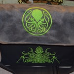 Messenger bag Cthulhu embroidered Canvas and suede top