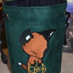 Dice Bag custom Embroidery Green Suede Fox rolling Gold D20
