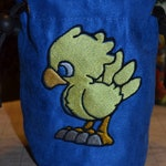 Dice Bag Final Fantasy Chocobo Chibi Embroidered Blue suede