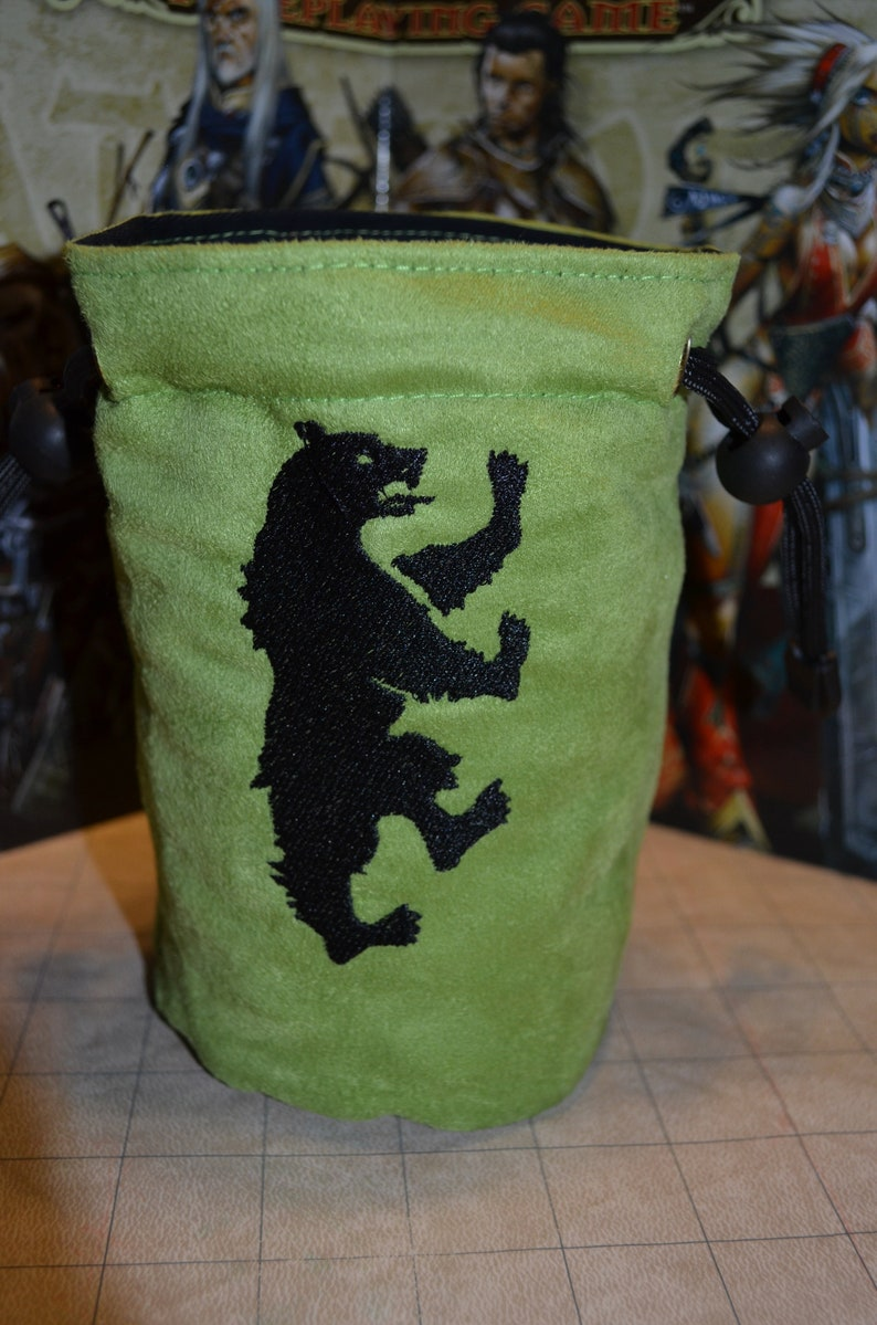 Dice Bag game of thrones Mormont Embroidered Suede image 0