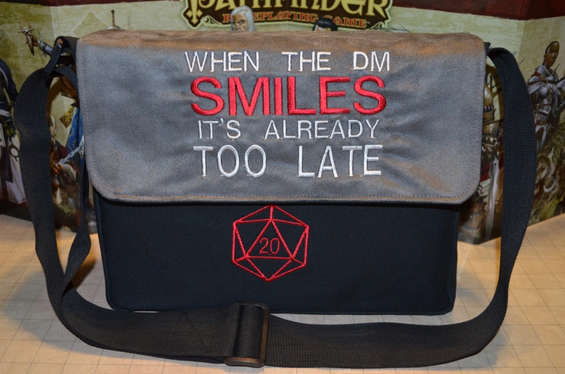 Messenger bag When the DM smiles embroidered Canvas and suede image 0