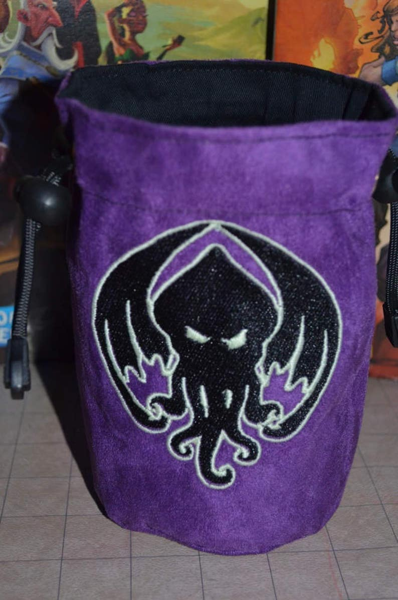 Dice Bag Purple Cthulhu Glow in the Dark Embroidery image 0