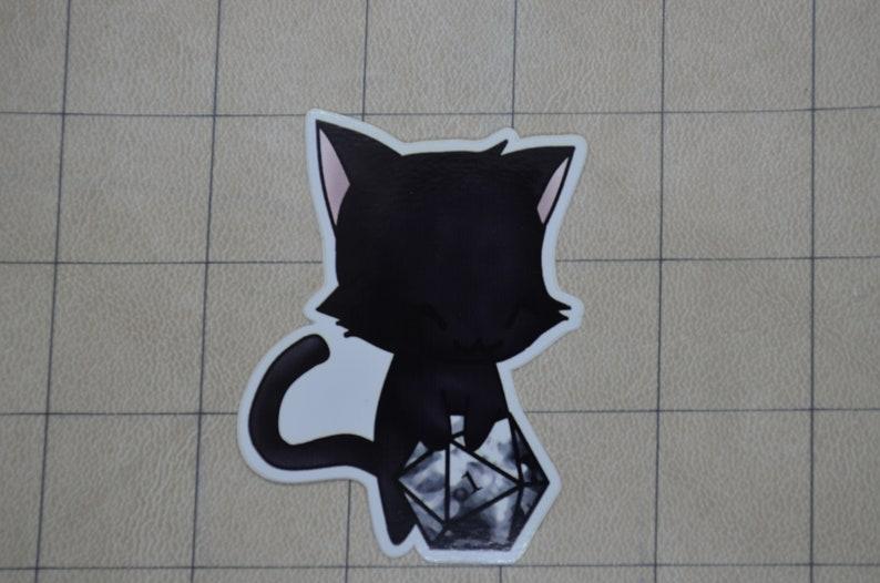 Black Cat D&D D20 gaming Vinyl sticker image 0