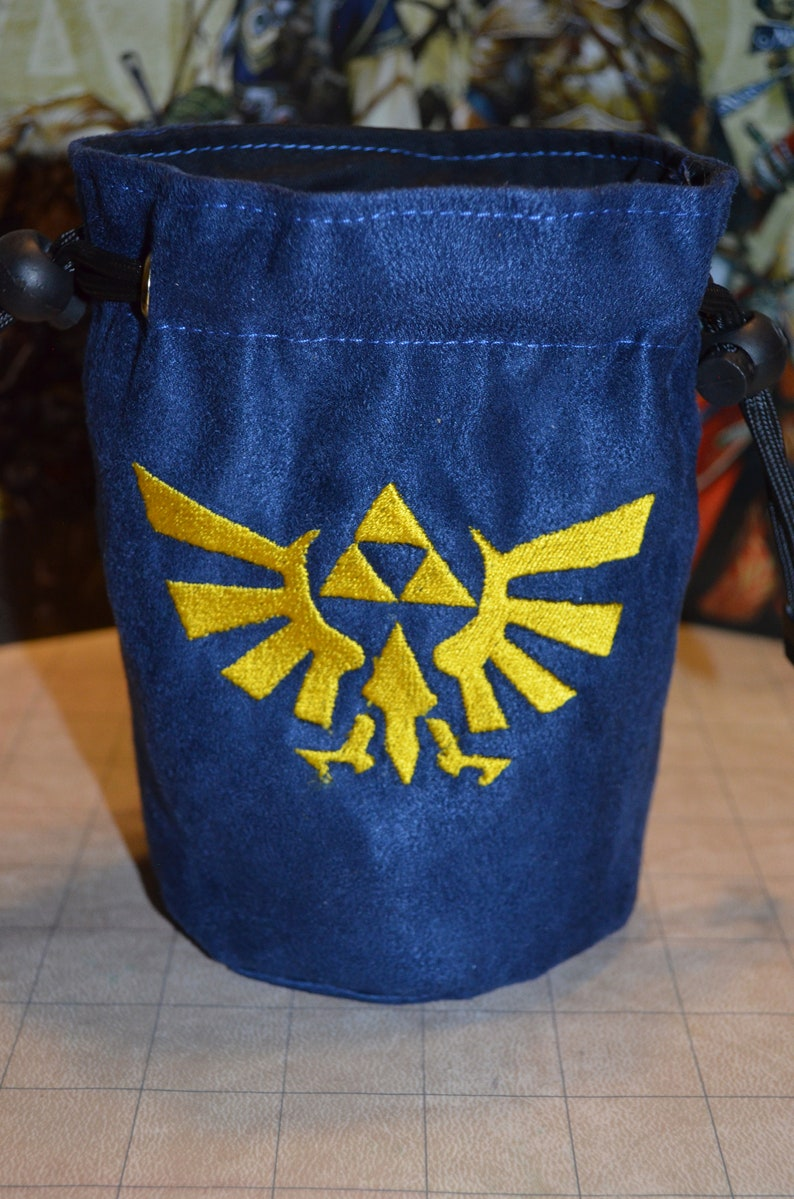 Dice Bag Zelda Hyrule triforce Embroidery Navy Blue Suede image 0