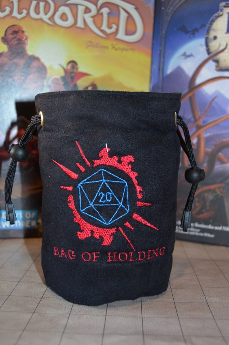 Dice Bag custom Embroidery Suede D20 Bag of holding image 0