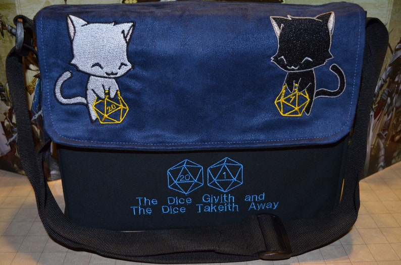 Messenger bag D20 Dice Givith Cats embroidered Canvas and image 0