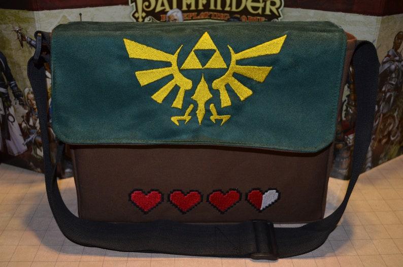 Legend of Zelda messenger bag Canvas with embroidered suede image 0