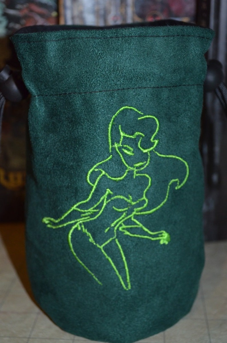 Dice Bag Poison Ivy double sided Embroidery Suede green image 0