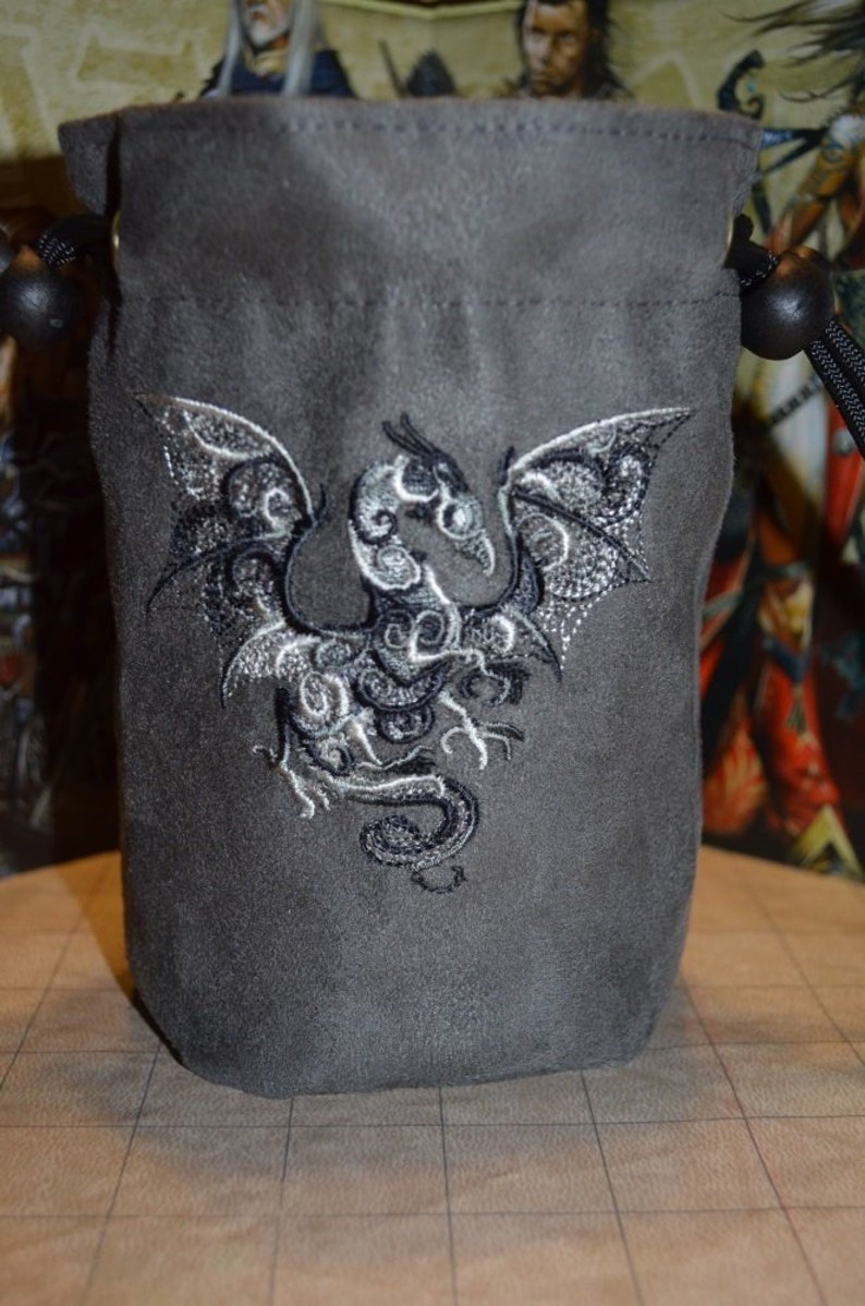 Dice Bag Black/Silver Dragon Embroidered suede image 0