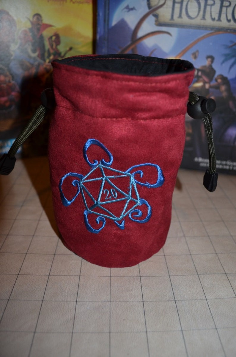 Dice Bag custom Embroidery Suede D20 Turtle image 0