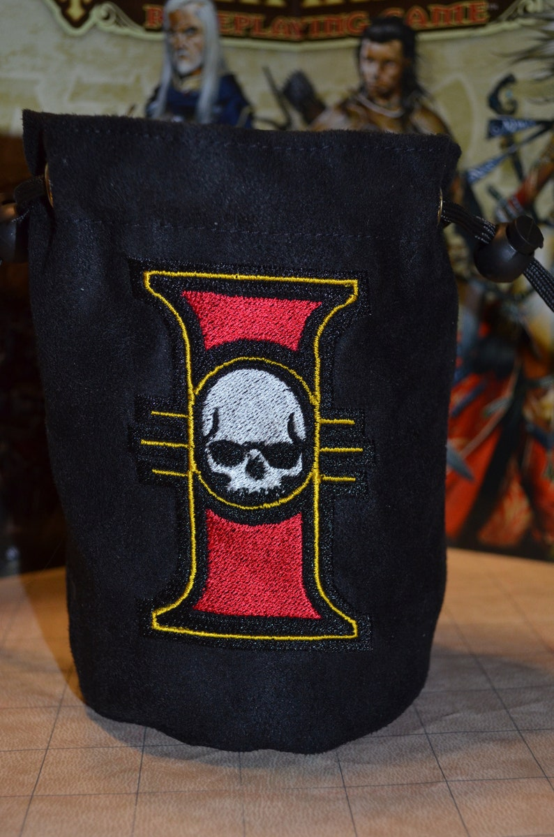 Dice Bag Warhammer 40K Imperial Inquisition Embroidered Suede image 0