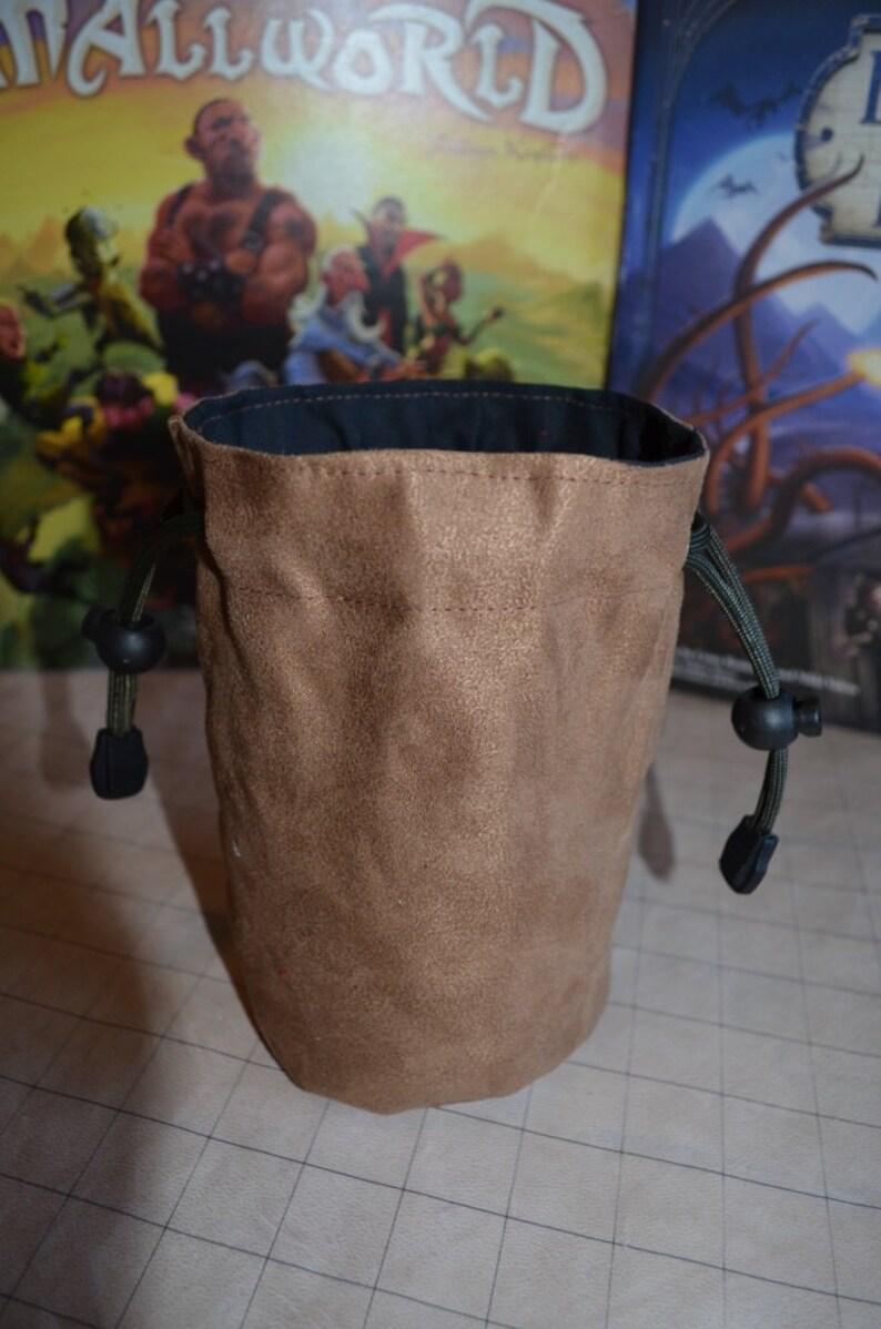 Dice Bag no Embroidery Suede Solid Color Light Brown suede image 0