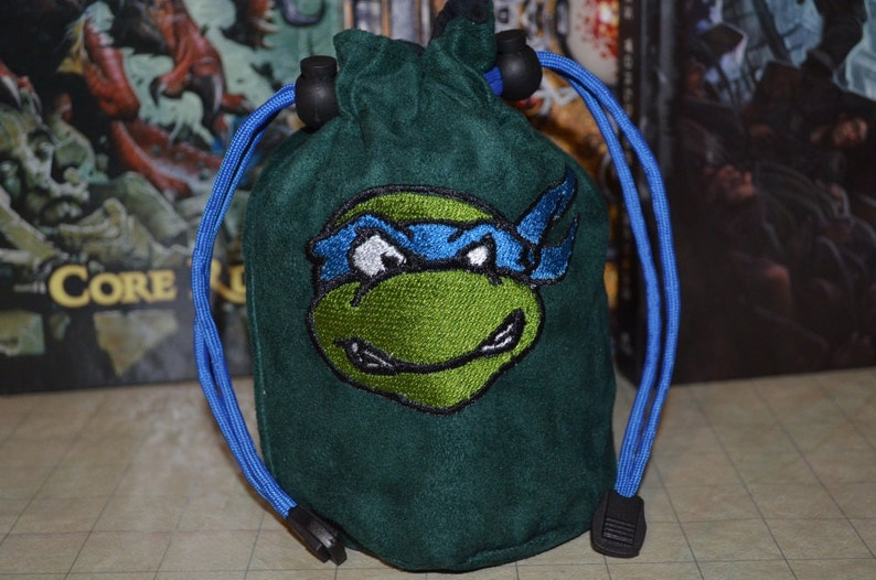 Dice Bag Leonardo Double sided Embroidery Green Suede image 0