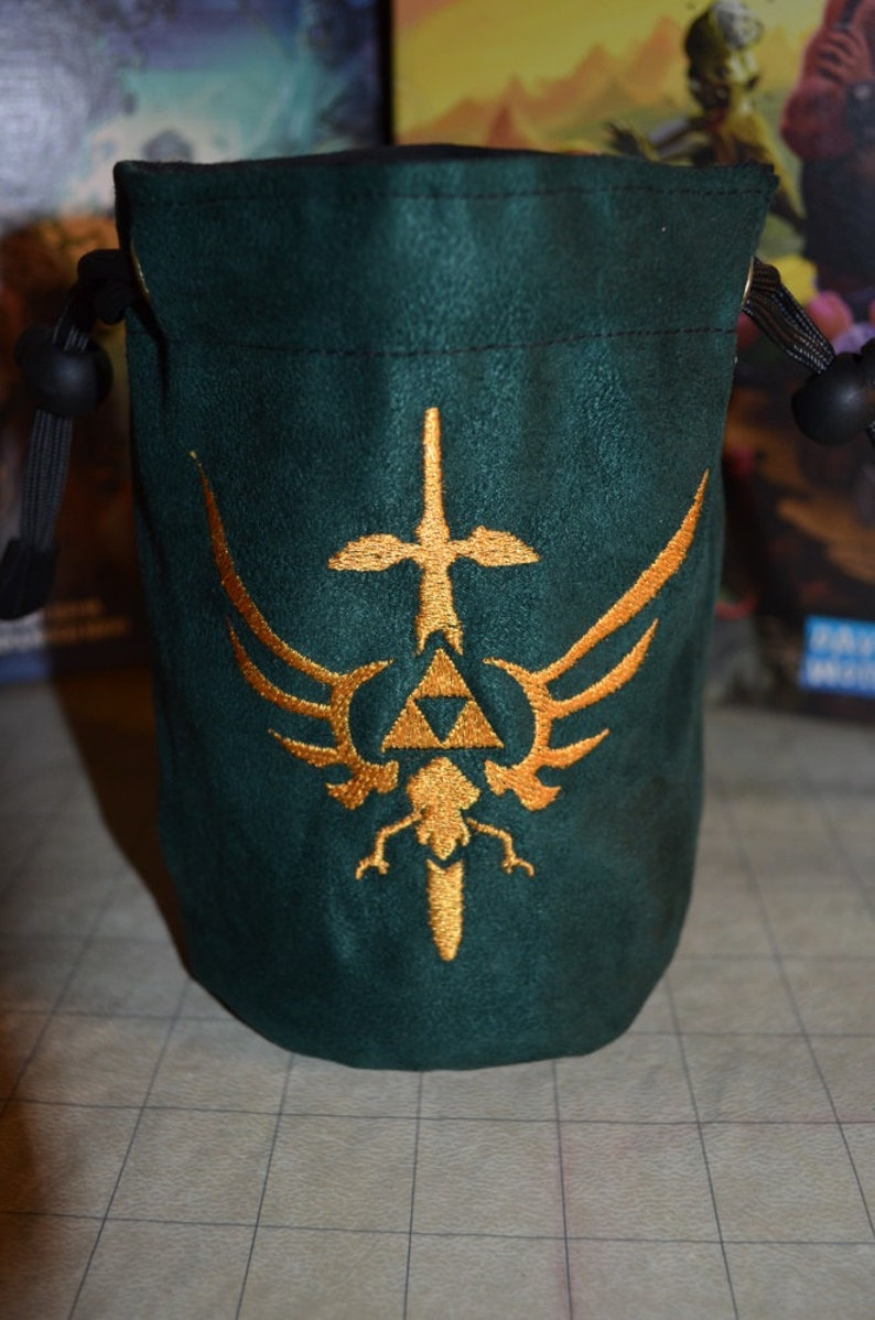 Dice Bag custom Embroidery green suede golden Zelda triforce image 0