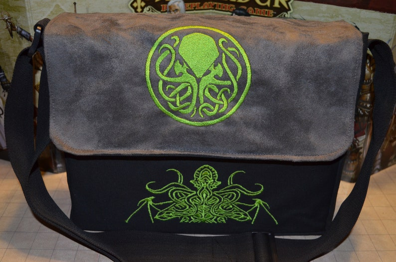 Messenger bag Cthulhu embroidered Canvas and suede top image 0
