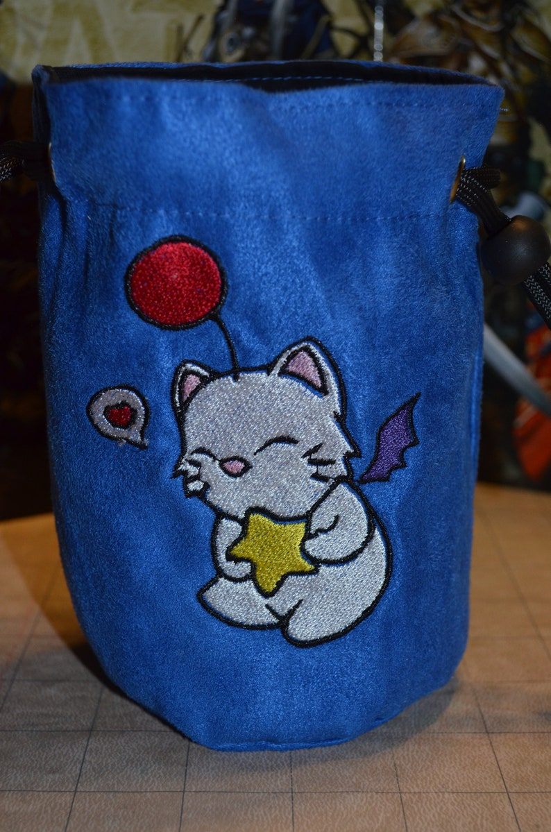 Dice Bag Final Fantasy Moogle Embroidered Blue suede image 0