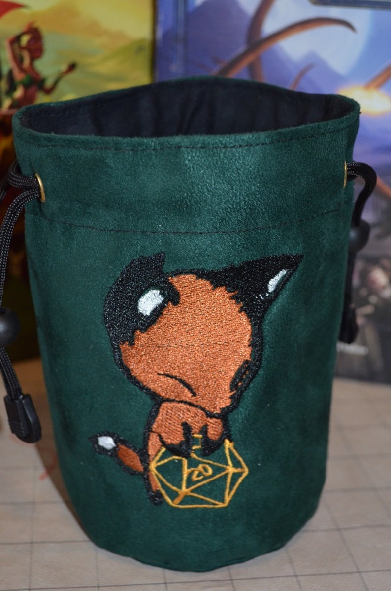 Dice Bag custom Embroidery Green Suede Fox rolling Gold D20 image 0