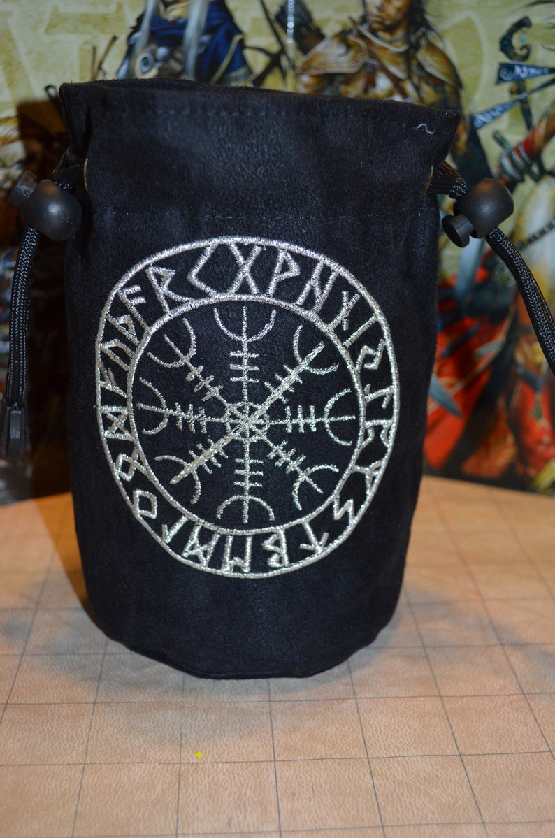 Norse Symbol Helm of Awe embroidered suede dice bag image 0