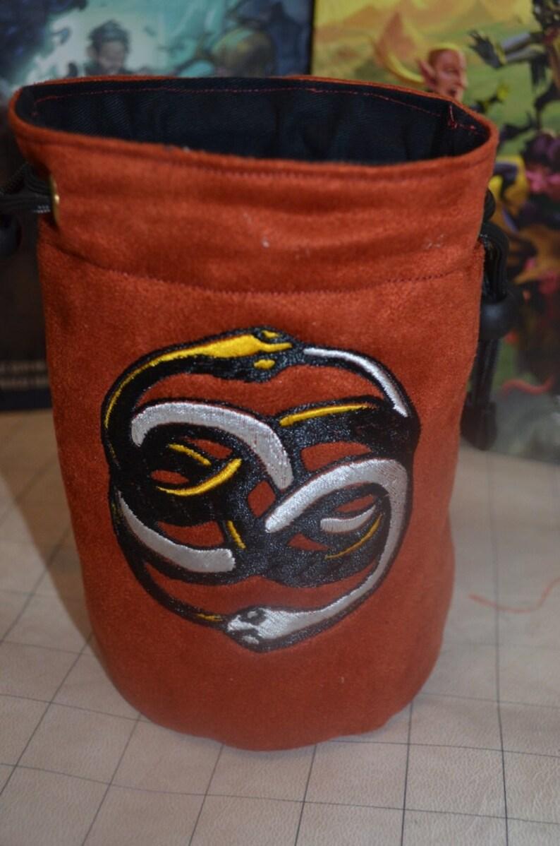 Dice Bag custom Embroidery Rust Orange Suede Never ending image 0