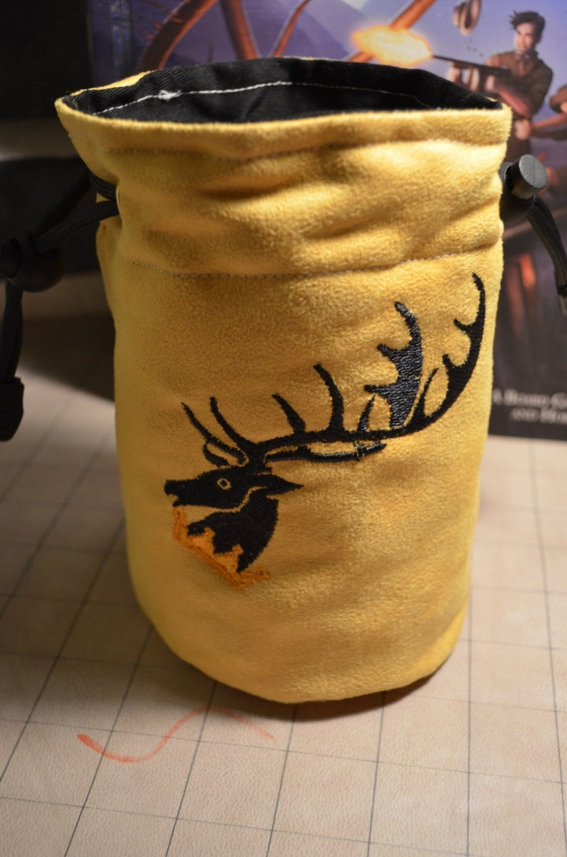 Dice Bag custom Embroidery Suede Yellow/gold game of thrones image 0