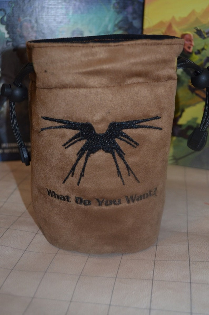 Dice Bag custom Embroidery Light Brown Suede Babylon 5 Shadow image 0