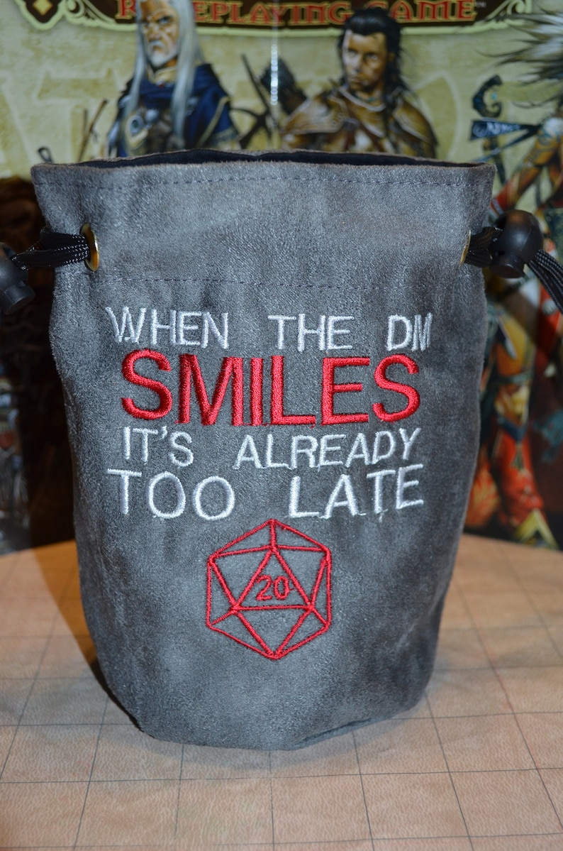 Dice Bag When the DM Smiles Embroidered Suede image 0