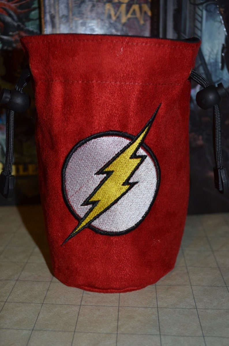 Dice Bag The Flash Embroidery on Red Suede image 0