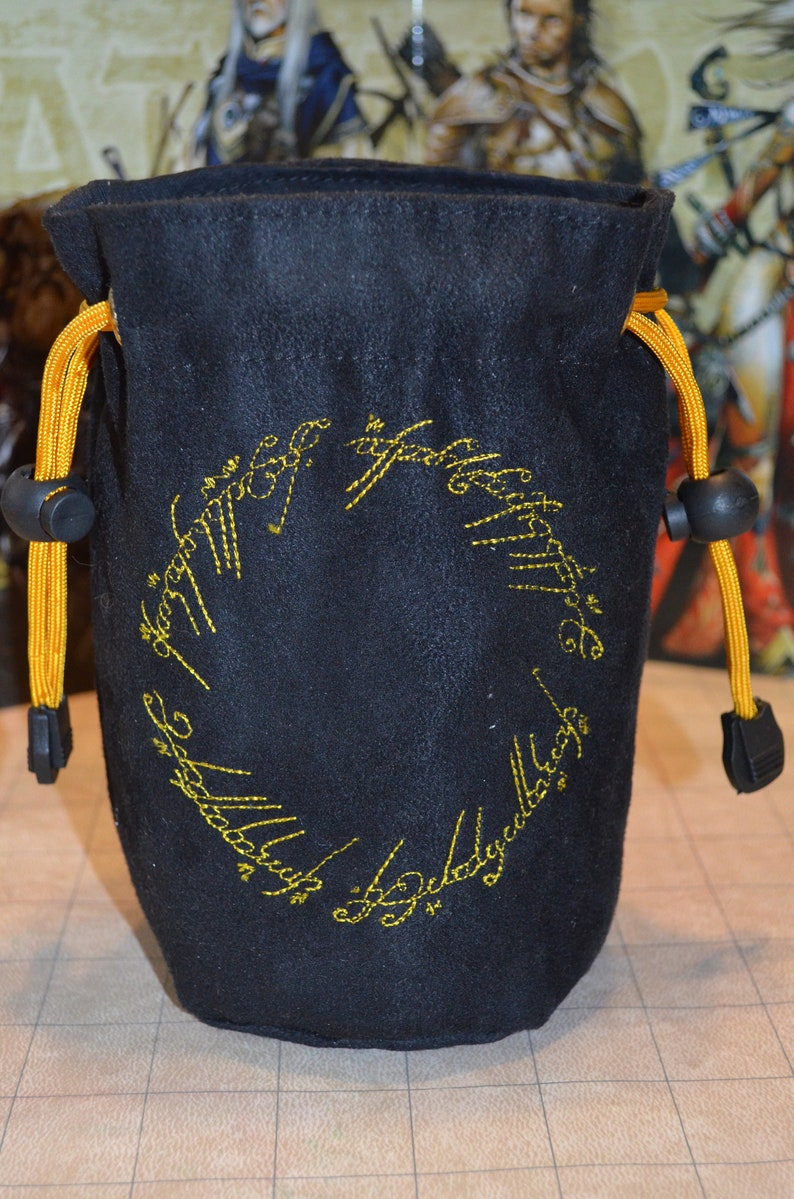 Lord of the Rings The one Ring embroidered suede dice bag image 0