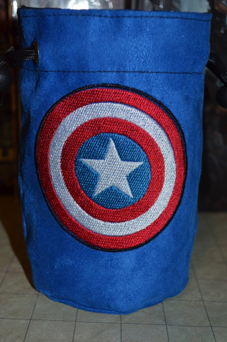 Dice Bag Captain America Embroidery on Blue Suede image 0