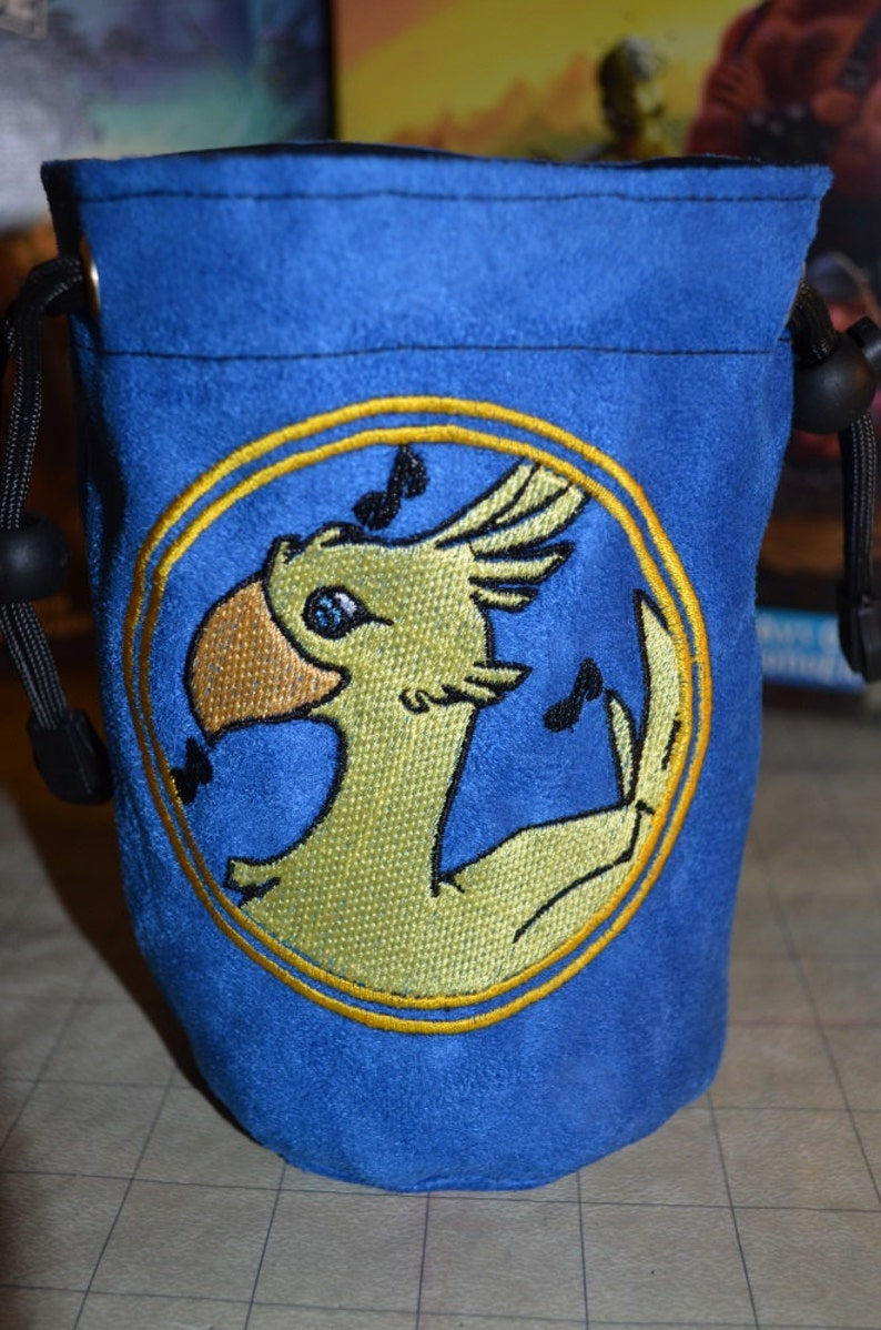 Dice Bag custom Embroidery blue Suede Chocobo image 0