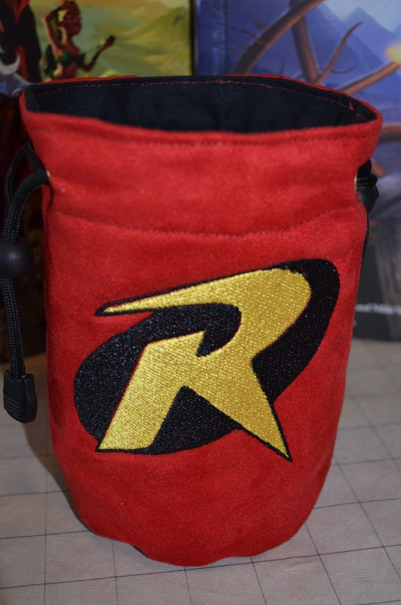 Dice Bag custom Embroidery BATMAN Robin Bag CR002 image 0