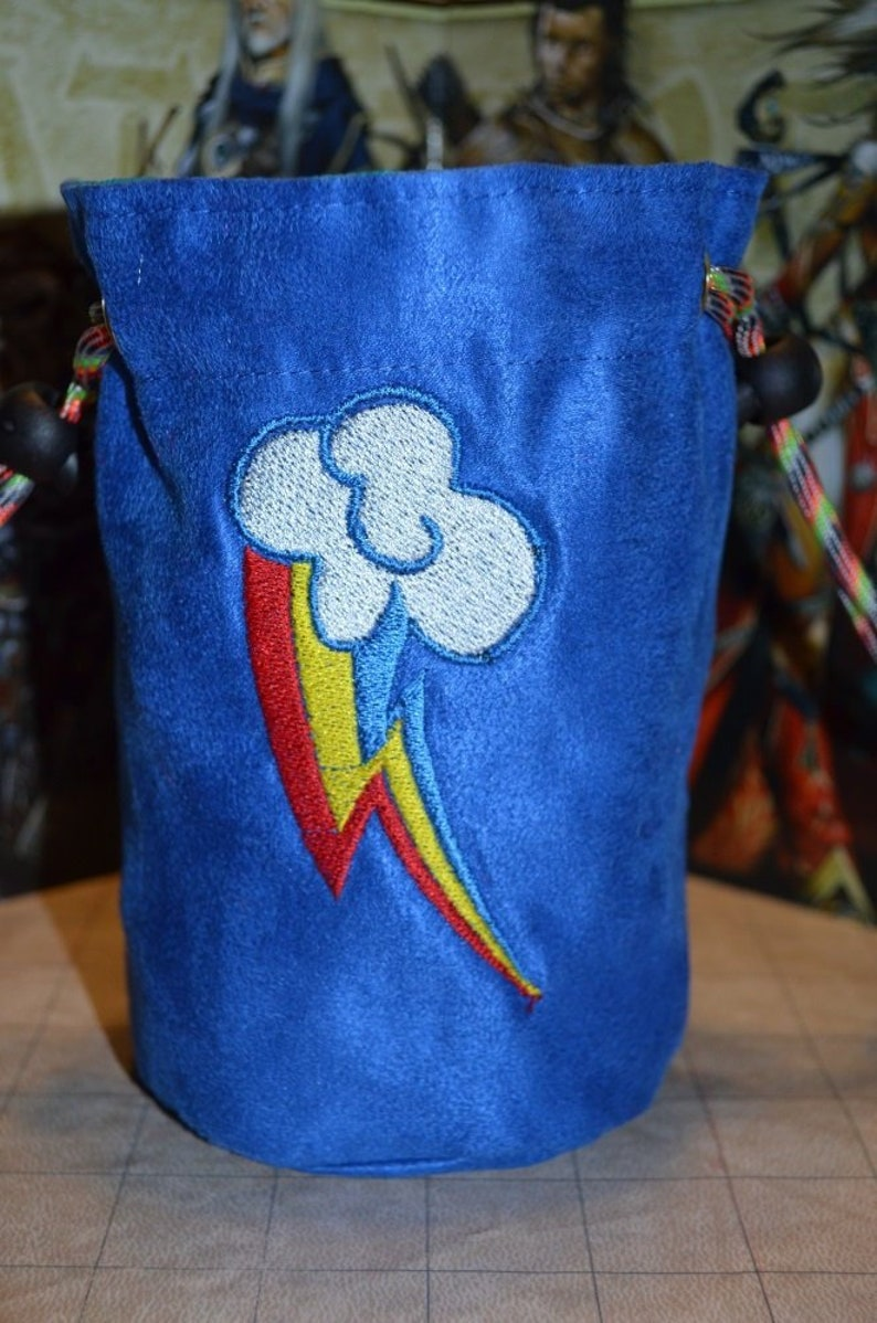 Dice Bag My Little Pony Rainbow Dash Embroidered Blue suede image 0