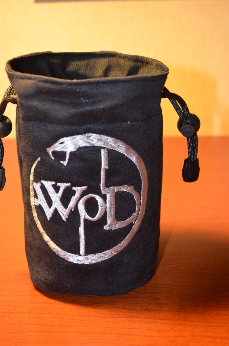 Dice Bag custom Embroidery Suede Black and Silver World of image 0
